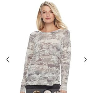 ROCK & REPUBLIC camo crewneck large sweater